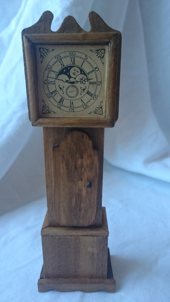 Vintage Shackman Miniature Wooden Doll House Grandfather Clock
