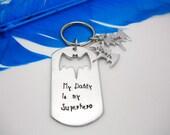 Hand Stamped dog tag personalized key chain Bat Dad with bat kids names key chain keychain set