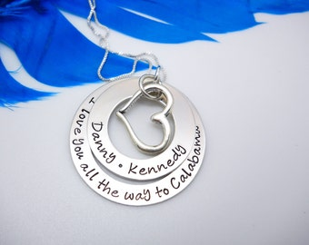 Personalized Mothers Necklace, Personalized necklace for Mom, Washer Necklace personalized, sterling silver, Mothers Day gift for mom