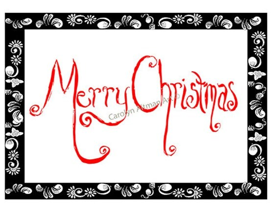 Scroll Merry Christmas Cards in Black and Red Package of 20