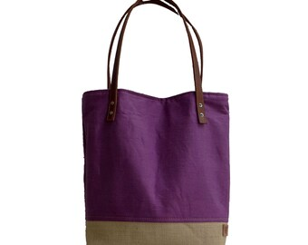 Resort Tote, Beach Tote Bag, Purple Linen Tote, Women's Tote, Market Tote, Canvas Tote, Leather Tote, Burlap Beach Bag, Beach Bag, Tropical