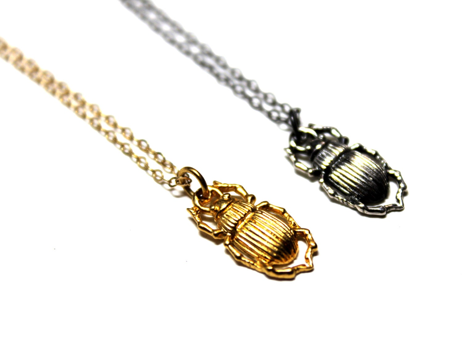 Scarab Beetle Necklace / 22K Gold Vermeil Sterling Silver 14K