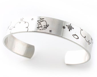 Neverland Cuff Bracelet - Peter Pan Scene Cuff - Second Star to the Right - Landscape Bracelet