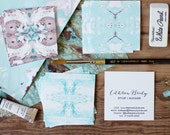 Calling Cards / Business Cards/ Blogger Cards Tiled Marble Aqua  - Set (50) / Watercolor / Painted / Brushstroke