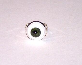 olive green iris eyeball ring