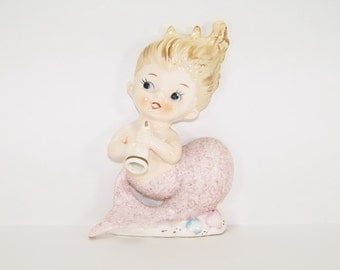 Vintage Bradley Mermaid Playing a Horn Wall Plaque or Figurine