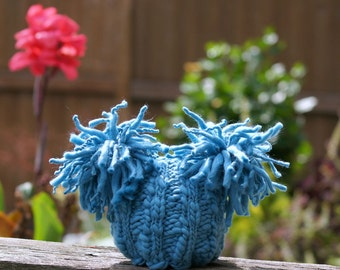 NEWBORN Baby Photography Prop - Knit Hat - Twin Prop - Blue PHOTO 1