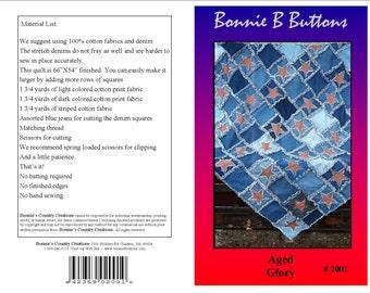 New Pattern 2001 Aged Glory - ragged edge denim and cotton digital quilt pattern