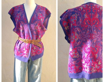 vintage sweater vest / PAISLEY purple pink / Renee Tener for Jeanne Pierre / blanket shawl / womens large