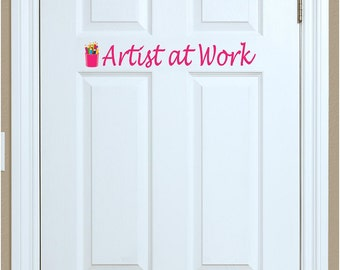 Artist at Work • Bedroom Playroom Door Decoration • Color Pencils Script Lettering • Personalize Your Space • Door Lettering for Childs Room
