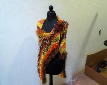 Hand Knitted Shrug / Shawl Orange/Brown/Yellow