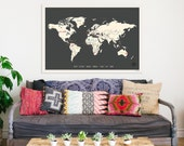 World Wall Map, Personalized Travel Map on Gallery Wrapped Canvas, 24x18 or 36x24, Travel Art, Gender Neutral Nursery Wa