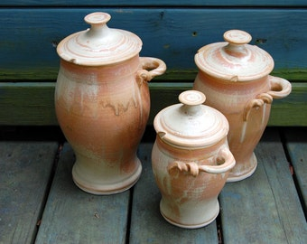 Kitchen Canister Set of Three in Sunburst- Ready to Ship