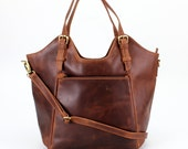 Brown Leather Handbag Tote Bag Shoulderbag