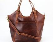 Brown Leather Handbag, Tote, Bag, Shoulderbag