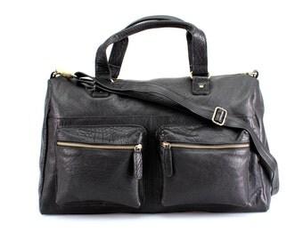 Black Leather Holdall, Travel Bag, Weekend Bag