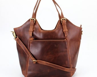 Brown Leather Handbag, Tote, Bag, Shoulderbag