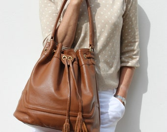 Leather Drawstring Bag/ Leather Dufffle Bag/ Leather Handbag, tan