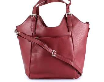 Red Leather Handbag, Tote, Bag, Shoulderbag