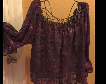Purple burnout fabric chemise size small or medium festival wear costume Ren Fest costume  shirt gypsy boho  rock and roll cosplay