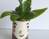 face planter girl brown hair garden art white brown black ceramic art vase home decor small flower pot