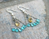 Citrine, Apatite, Labradorite and White Pearl Multi Gemstone Wire Wrapped Sterling Silver Handmade Earrings, Triangle Chandelier Earrings