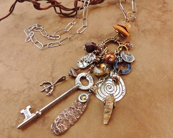 SALE! + Mixed Media Talisman Necklace + Antique and Vintage Charms + Ethnographic Amulets + Magical Old West