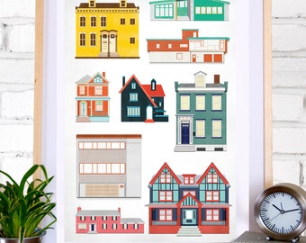 Houses: Illustration print of different house styles