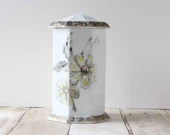Rosenthal Classic Germany Biscuit Cookie Jar / Large Floral Hand Painted Container / Yellow Gray Gold Metallic Octagon Lidded Jar
