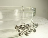 RESERVED for Lily Butterfly Kidney Wire Dangle Earrings Tibetan Silver Set No. 2
