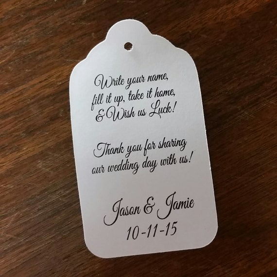 Write your Name Fill It Up favor tags 100 Personalized Wedding Drink Tag