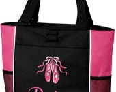 Girls Personalized Ballet Tote Bag Monogrammed Dance Slippers