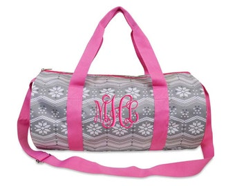 Personalized Duffle Bag Fairisle Gray Hot Pink Dance Bag Luggage Gym Travel Overnight
