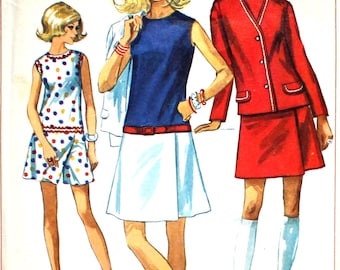 1960's Skort Culotte Dress Bust 38 Simplicity 8098