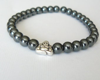 "Buddha Hematite 6mm Beads ""Stone For The Mind"" Bracelet"