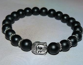 Buddha Head Matte Black Onyx Unisex Bracelet