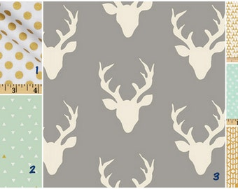 Deer head gold mint  -   Crib bedding set -  Design your own 3 pcs. SET Custom crib Bedding
