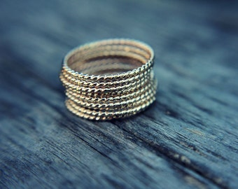 Skinny gold filled stacking ring - stackable ring - gold fill - twisted ring - rope band - simple band - minimalist
