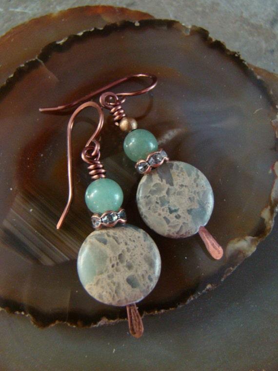 Lizardite/ Green Lace Agate and Jade Drop Earrings Mossy Green