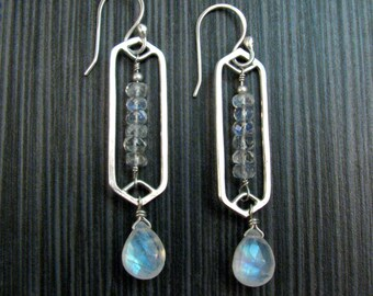 Rainbow Moonstone Earrings Sterling Silver - Modern Tribal Statement Earrings - Blue Moonstone Earrings - Boho Bridal Earrings