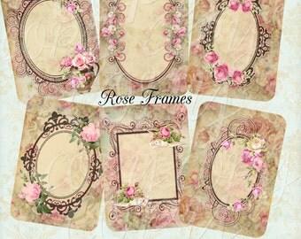 Instant Download  - Rose Frames - ACEO - Digital Download - Printable  Digital Collage Sheet