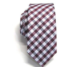 Mens Tie. Burgundy Wine Gray Checkers Mens Skinny Necktie