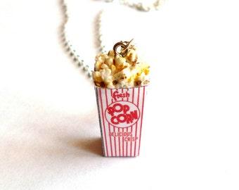 Popcorn Necklace, Carnival Food Charm, Circus Popcorn Pendant, Junk Food Jewelry, Kawaii Jewelry