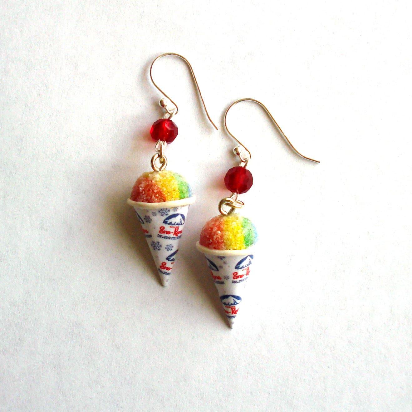 rainbow snow cone earrings carnival snow cone charm polymer
