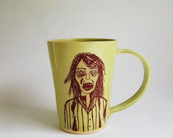 Zombie Mug, Made to Order, The Walking Dead, Halloween Mug, Mug with a Zombie, Handmade Porcelain Mug, Handmade Mug, Zombie Apocalypse