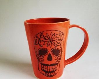 Sugar Skull Mug, Made to Order, Mug with Sugar Skull, Halloween Mug, Porcelain Mug, Day of the Dead Mug, Day of the Dead, Handmade Mug