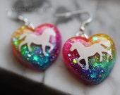 Unicorn Neon Rainbow Glitter Jewelry, Unicorn Earrings, sparkly resin dangle style earrings, rainbow glitter hearts handcrafted by isewcute