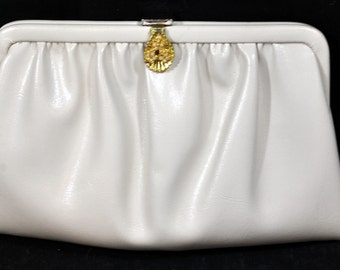 Vintage Ande Off-White Clutch Purse with Chain Handle