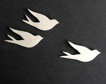 Wall art Birds Set of 3 porcelain swallows White art deco inspired ceramic wall sculpture Art gift ideas for friends or family
