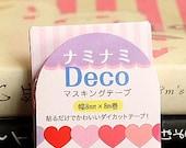 Japanese Kawaii Slim NamiNami Die-cut Masking Tape - Vivid Hearts